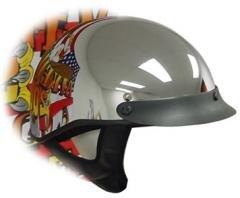 DOT Chrome Shorty Helmet Motorcycle