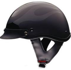 DOT Flat Black Flame Shorty Helmet Motorcycle