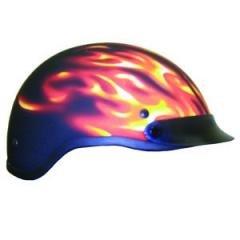 DOT Matt Flame Shorty Helmet Motorcycle