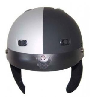 DOT Matte Black/Silver Motorbike Helmet