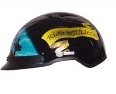 DOT Vented Blue Cross Christian Half BEANIE Helmet Motorcycle