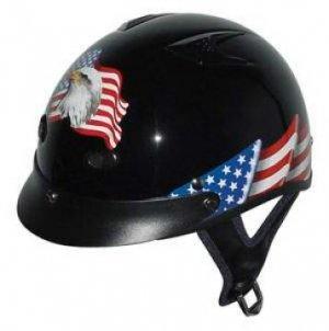 DOT Vented EAGLE Flag Half Helmet Motorcycle BEANIE Helmets