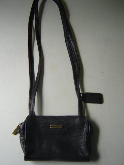 leather shoulder bag petite black Jacqueline Ferrar pebble emboss  double strap zip closure