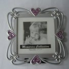 picture frame pink sparkle hearts by Memories Collection silvertone 3 inches by 3 inches