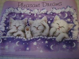"sleeping kittens cats poster Pleasant Dreams 12"" by 16"" artist: Kayomi"
