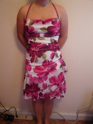 party dress by Venus white fuschia green flower print size small semi formal LIKE NEW
