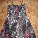 sparkle print top black white pink elastic bodice spaghetti tie straps size medium by Eyelash