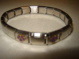 purple pawprint bracelet stretch Italian link style charm bracelet silver tone