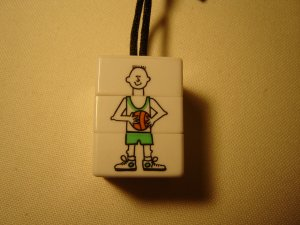 childs sports necklace rotating cube changable mixed-up characters black satin cord