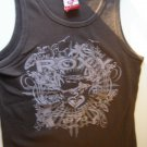 Roxy Girl brown ribbed tank top screenprint girls size Large 100% cotton LIKE NEW