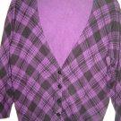 Delia's plaid cardigan sweater junior size L purple black 3/4 sleeves NEW no tag