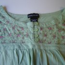 mint green top pink flower accents Wet Seal junior small 100% cotton excellent condition