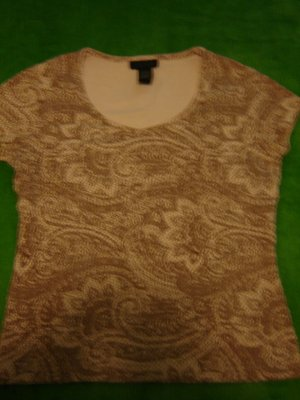 the Limited knit top short sleeve pink tan ladies medium cotton spandex LIKE NEW