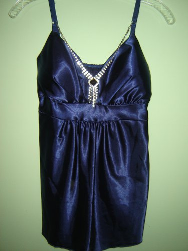 dressy satin top attached rhinestone necklace size M rich deep dark blue made in Italy