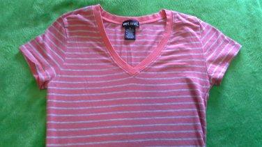 striped knit tee shirt Wet Seal v neck size M orange gray cotton spandex short sleeve