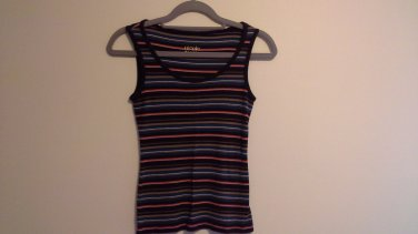 striped tank top Nicole by Nicole Miller ladies XS soft ribbed knit brown multi