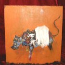 Original Abstract Oil Painting on Wood Animal Bull Nyugen E Smith