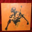 Original Abstract Oil Painting on Wood Skeleton Skull Beast Nyugen E. Smith