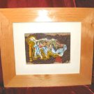 Original Framed Matted Mixed Media Print Abstract Nyugen E. Smith