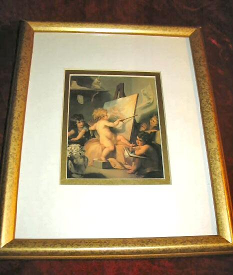 Beautiful Baby Angel Art Print Glassed Matted Framed