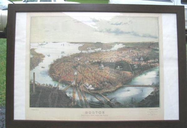 Boston Panoramic Map 39x27 Bird's Eye View Framed Poster Art Print 1877