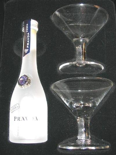 NIB Pravda Vodka Tasting Kit Bottle & 2 Martini Glasses