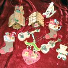 10 Vintage Christmas Tree Wooden Ornaments Pine Hanging