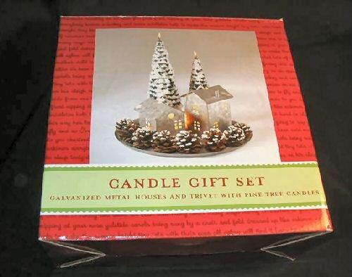 NIB 15pc Christmas Candle Gift Set Pinecones Tree House