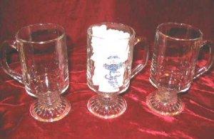 SPODE Christmas Snowmen Pattern 3 Clear Glass Beer Mugs