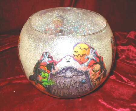 Holiday Halloween Candle Holder Glitter Frosted New!