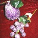 Purple beaded decorative fruit Pear & Grapes Decor