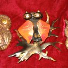 3 Resin Copper Owl Sculpture Hand Made Decor Folk Art