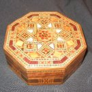 WOODEN INLAID MOTHER OF PEARL TRINKET JEWELRY BOX