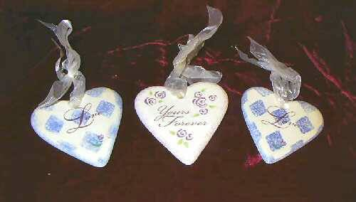 2 Russ Berrie Heart Shaped Ceramic Sign Valentines Love