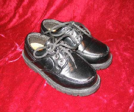 Boys Kids Black FAS Leather Dress Shoes 8 Italy