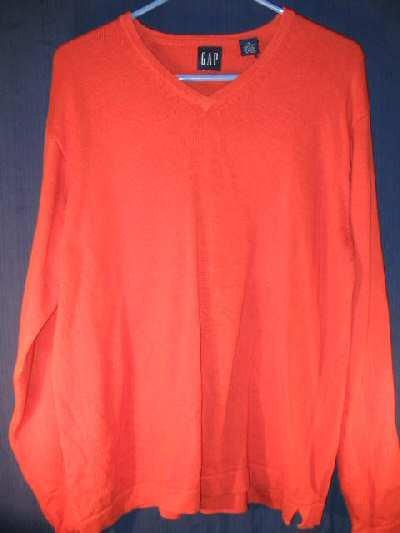 Mens Orange GAP Sweater Sz M thick cotton V-Neck Shirt