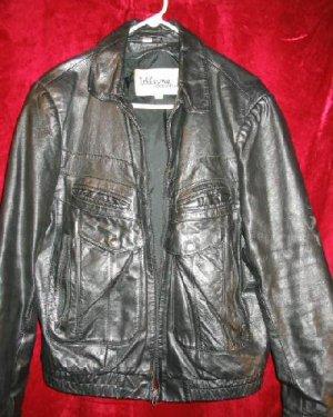 Mens Wilsons Black Bikers Genuine Leather Jacket Coat Thick 42 44