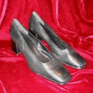 Black Nine West Leather Shoes Pump Heel 10 M