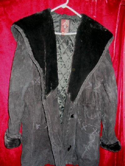 Womens G-III Long Black Leather Suede Jacket  Coat L