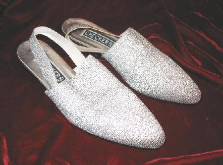 NEW Checkers Silver Shoes Pump Heel Sandals 7.5