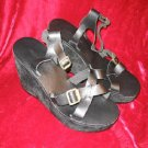 NEW Colin Stuart Black Leather Platform Shoes Sandals 9M