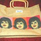 Nice Diane B. Straw Hand Bag w/ Jackie Onassis Prints JFK