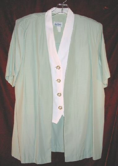 Womens Good Times Green Suit Jacket Vest Skirt USA 12