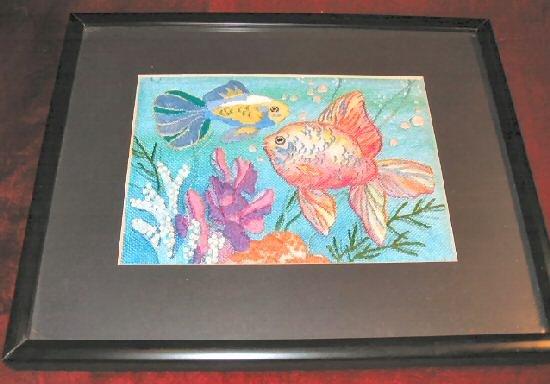 Gold Tropical Fish Cross Stitch Art Print Black Framed Matted