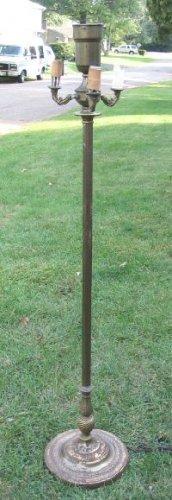 "Original Antique  / Vintage Brass Floor Lamp 3-Arm Torchiere 54"""