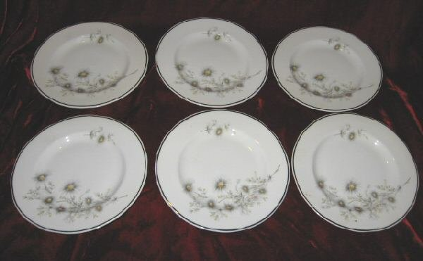 6 Vintage Mayfair Fine Bone China Dessert Plate England