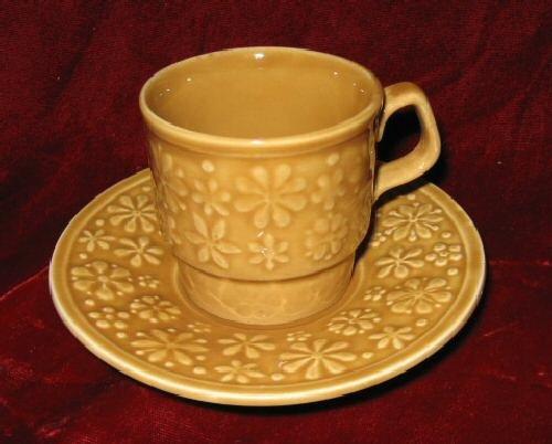 Vintage TAMS Mustard Yellow Cup & Saucer England