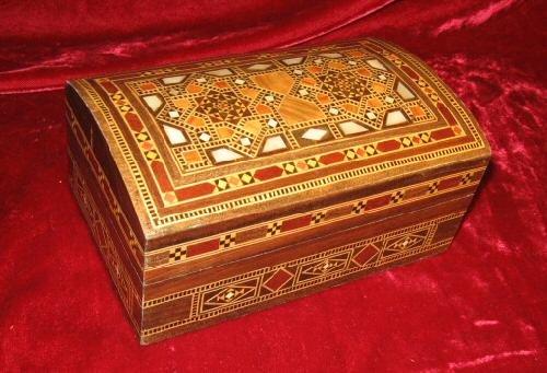 Handcfafted Walnut  Inlaid Trinket wooden Jewelry Box