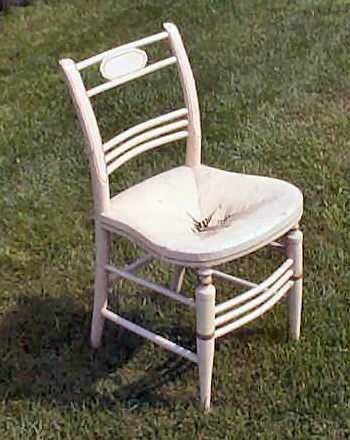 Antique White Straw / rush Chair Circa 1850 Original Condition