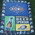 1998 Miller Lite Super Bowl XXXII Metal Sign Ad  36x30